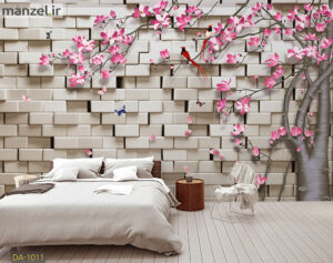 پوستر دیواری شکوفه و دیوار آجری DA-1011