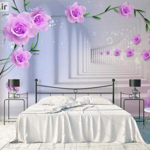 پوستر دیواری گل و فضای سه بعدی DP-1017
