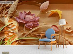 پوستر دیواری گل فانتزی طرح گچ بری DP-1018