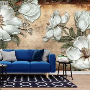 پوستر دیواری گل فانتزی و دیوار DP-1026