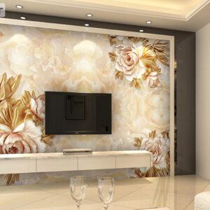 پوستر دیواری گل فانتزی طلایی DP-1047