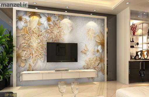 پوستر دیواری گل فانتزی و پروانه DP-1063