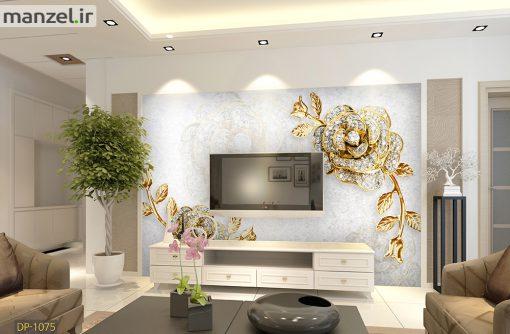 پوستر دیواری طرح گل طلایی رنگ DP-1075