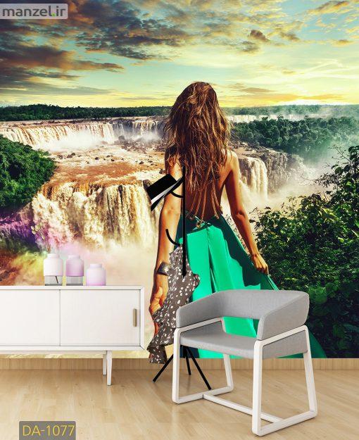 پوستر دیواری دختر و آبشار DA-1077