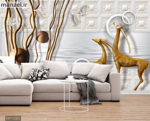 پوستر دیواری هنری طرح گوزن های چوبی DP-1081