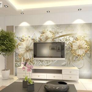 پوستر دیواری گل فانتزی و سنگ های قیمتی DP-1082