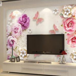 پوستر دیواری گل فانتزی و پروانه DP-1084