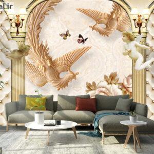 پوستر دیواری طرح چرم و پرنده DP-1146