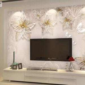 پوستر دیواری گل فانتزی و پروانه DP-1148