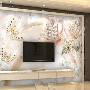 پوستر دیواری گل های جواهری و پروانه DP-1150
