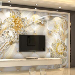 پوستر دیواری گل های طلایی و جواهرنشان DP-1152