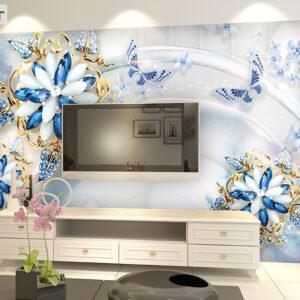 پوستر دیواری گل آبی و جواهر DP-1153