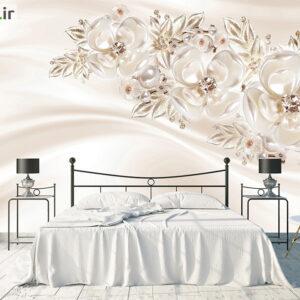 پوستر دیواری رزهای سفید و مروارید DP-1156