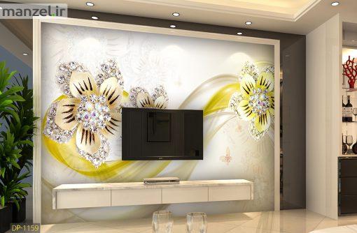 پوستر دیواری گل زنبق نگین دار DP-1159