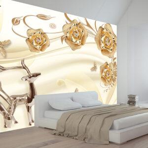 پوستر دیواری آهو و گل فانتزی DP-1160