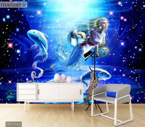 پوستر دیواری پری دریایی و ماهی DP-1163
