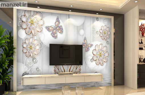پوستر دیواری گل و پروانه DP-1165