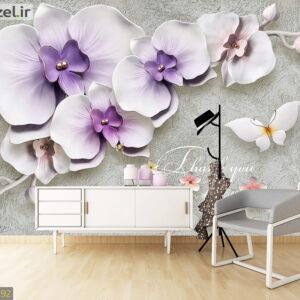 پوستر دیواری گل و پروانه سه بعدی DP-1192