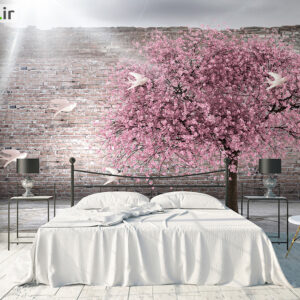 پوستر دیواری درخت و شکوفه و پرنده DP-1194