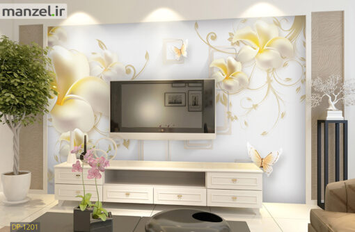 پوستر دیواری گل و پروانه DP-1201