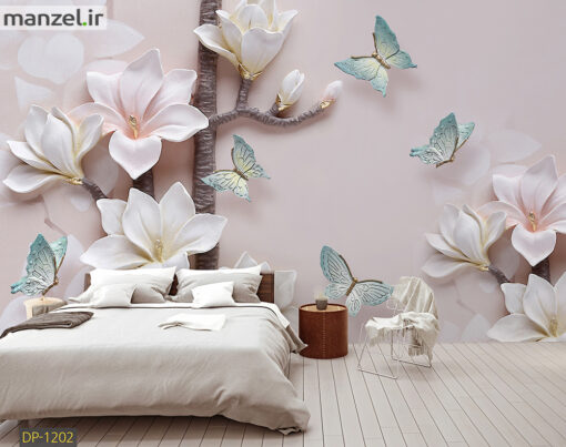 پوستر دیواری گل و پروانه DP-1202