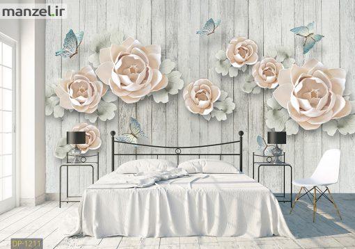 پوستر دیواری گل و پروانه DP-1211