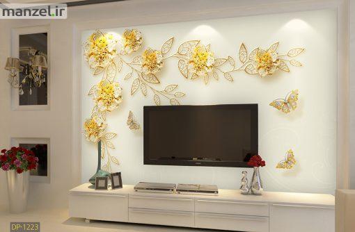پوستر دیواری گل و پروانه DP-1223