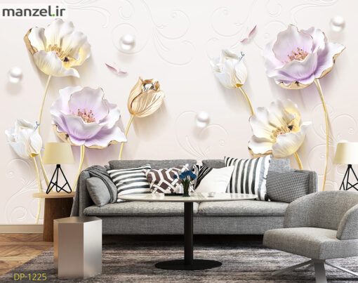 پوستر دیواری گل و مروارید DP-1225