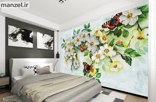 پوستر دیواری گل و پروانه DP-1230