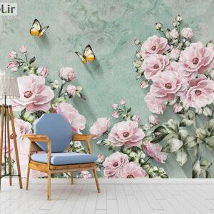 پوستر دیواری گل و پروانه DP-1241