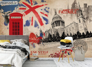 پوستر دیواری گل و دیوار آجری DP-1269