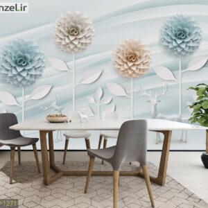 پوستر دیواری گل و گوزن DP-1271