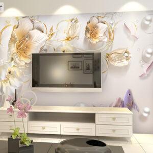 پوستر دیواری گل و ماهی و مروارید DP-1300