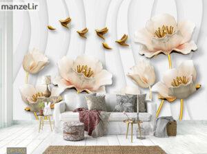 پوستر دیواری گل و پرنده فلزی DP-1302