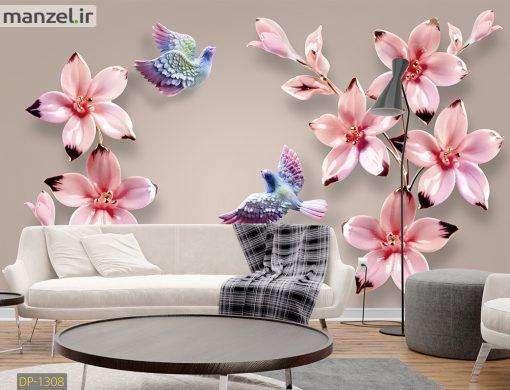 پوستر دیواری گل و پرنده رنگارنگ DP-1308