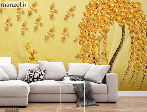 پوستر دیواری شکوفه و پرنده DP-1312