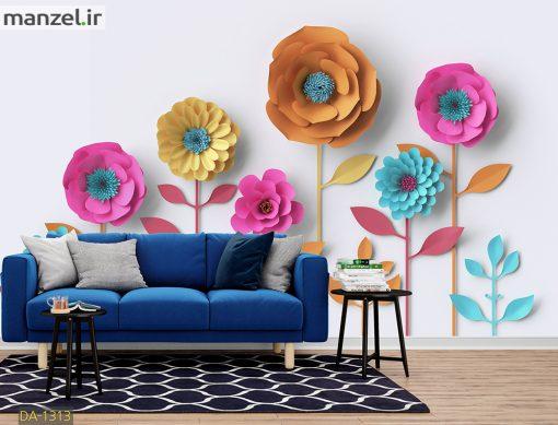 پوستر دیواری گل های کاغذی رنگارنگ DA-1313