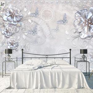 پوستر دیواری گل کریستالی و پروانه DP-1327