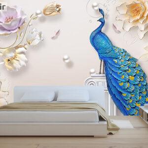 پوستر دیواری طاووس و گل DP-1342