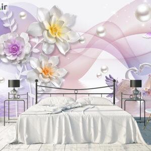پوستر دیواری گل صورتی و قو DP-1346