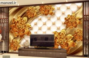 پوستر دیواری گل طلایی DP-1357