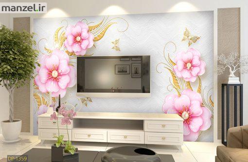 پوستر دیواری گل های صورتی DP-1359