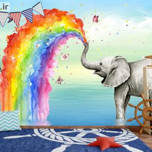 پوستر دیواری فیل و رنگین کمان DP-1360