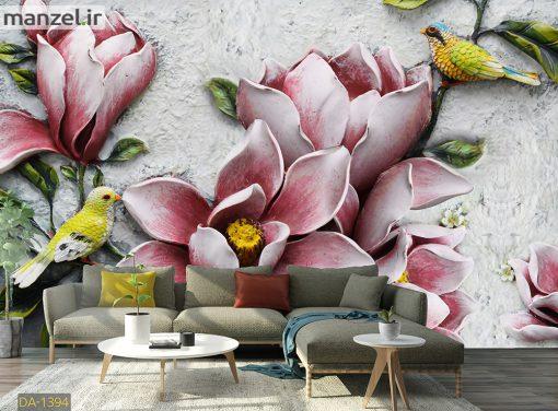 پوستر دیواری گل و پرنده DA-1394