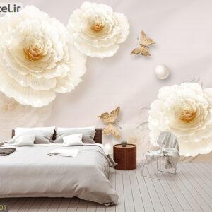 پوستر دیواری گل و پروانه DP-1401
