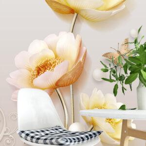 پوستر دیواری گل مروارید پروانه DP-1409