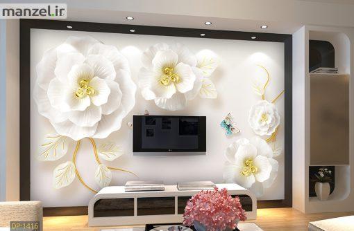 پوستر دیواری گل سفید DP-1416