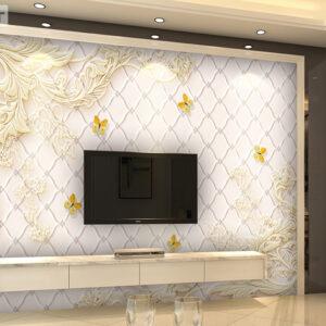 پوستر دیواری پروانه و گچبری گل DP-1427