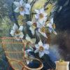 پوستر دیواری گل سه بعدی سفید DP-1433