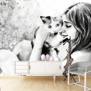 پوستر دیواری دختر و گربه DA-1437